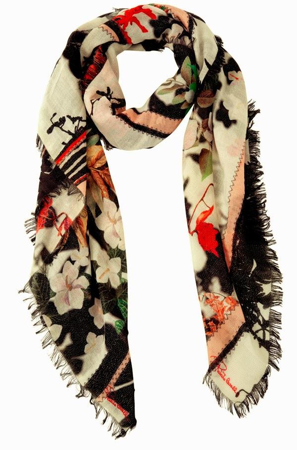 scarf, floral scarf, printed scarf, silk scarf, roberto cavalli, accessories, roberto cavalli accessories,