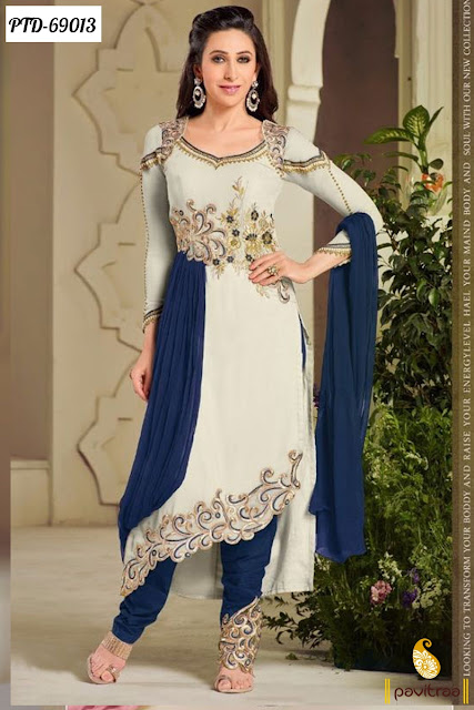 Bollywood Karishma Kapoor Cream Color Santoon Salwar Kameez In Cheap Price