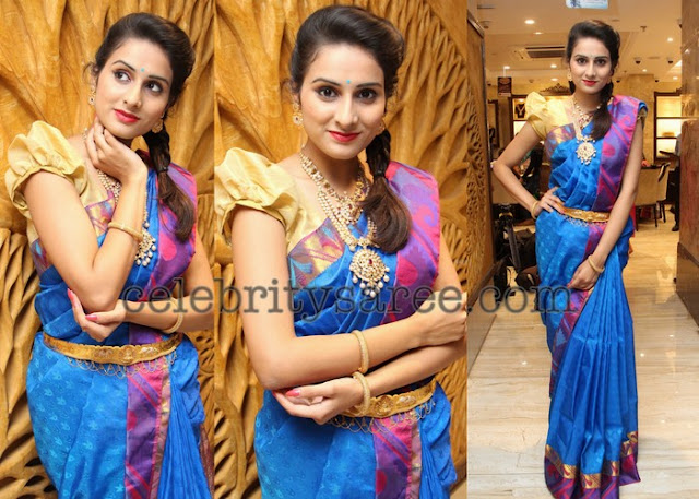 Nikitha Blue Silk Saree