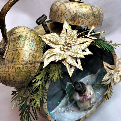 Sara Emily Barker https://sarascloset1.blogspot.com/2018/11/assemblage-clock-tis-season-for-gift.html  Assemblage Clock with Tim Holtz Stampers Anonymous, Sizzix Alterations Ideaology and Distress 10