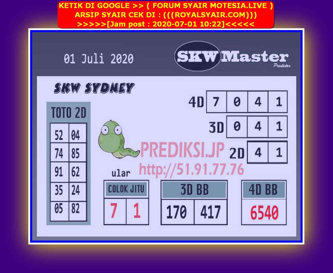 Kode syair Sydney Rabu 1 Juli 2020 102