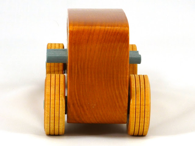 Rear - Wooden Toy Car - Hot Rod Freaky Ford - 32 Sedan - Pine - Amber Shellac - Metallic Green - Gray