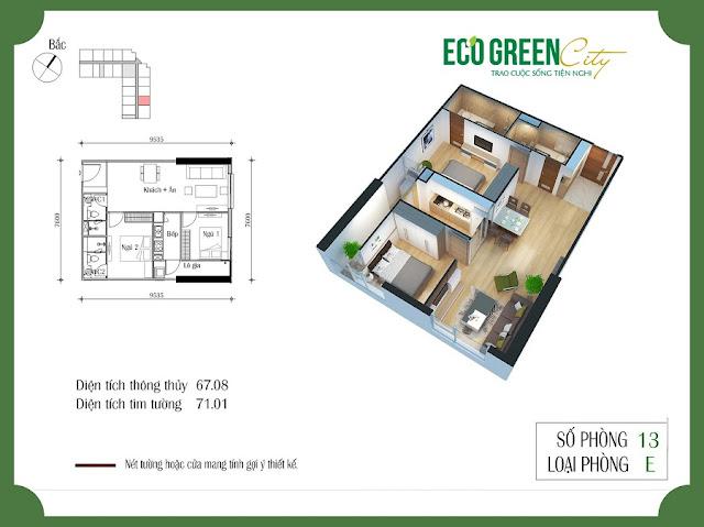 Thiết kế căn hộ 13 tòa CT2 Eco green city