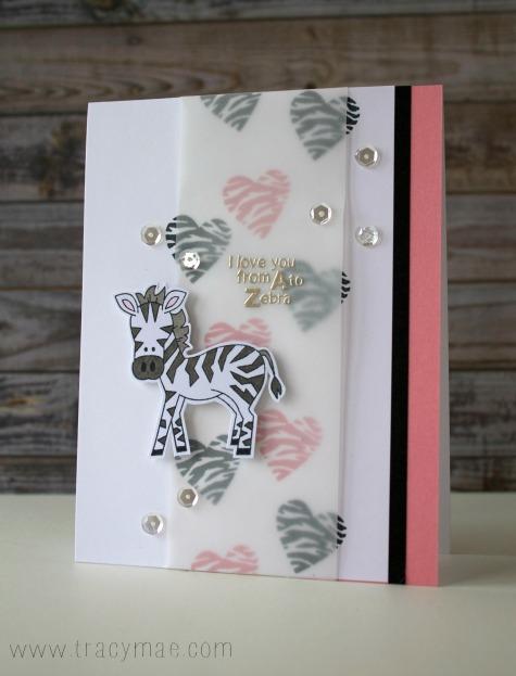 Zebra Valentine by Tracy Gruber | Wild About Zoo Stamp set by Newton's Nook Designs