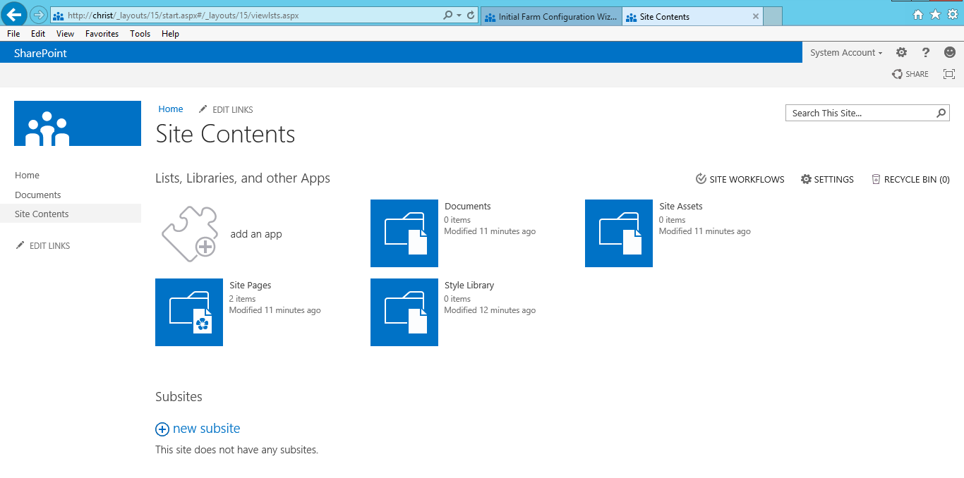 Site Contents by Team Site template of SharePoint Foundation 2013