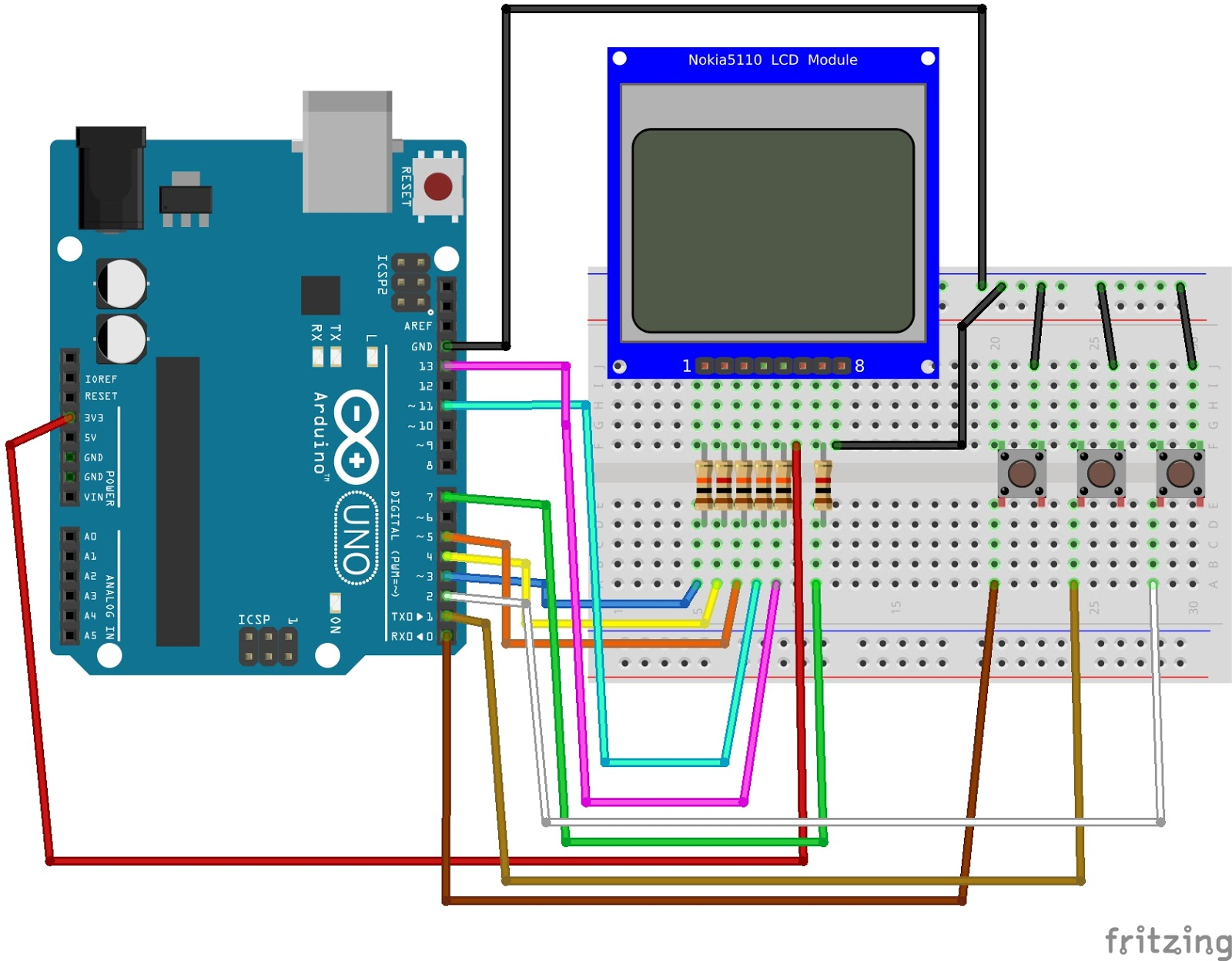 connect the pin 1 (rst pin) to the pin 3 of arduino through the 10k  resistor