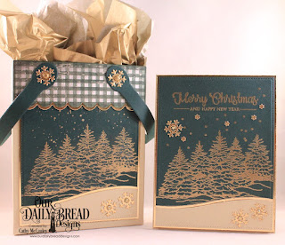 Our Daily Bread Designs Stamp Set: Peaceful Wishes, Paper Collection: Christmas 2013, Custom Dies: Card Caddy & Gift Bag, Gift Bag Handles & Topper, Pierced Rectangles, Curvy Slopes, Snow Crystals