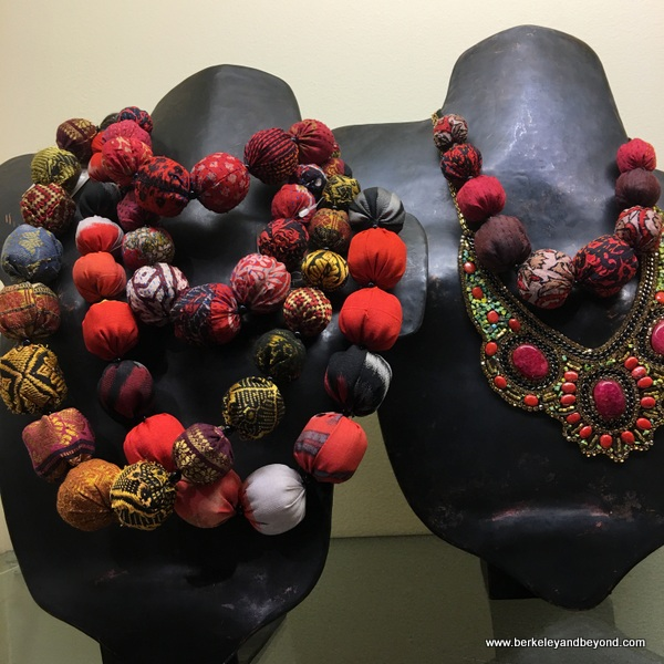 fabric-ball necklaces at Gump's in San Francisco, California
