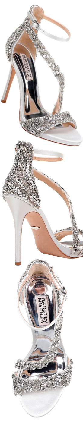 Badgley Mischka Venice Embellished Ankle-Wrap Sandals