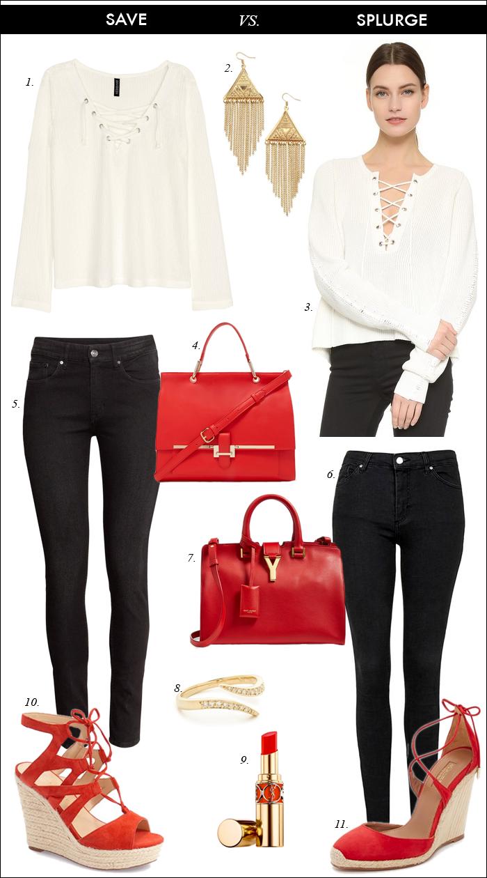 YSL red handbag, pink peonies