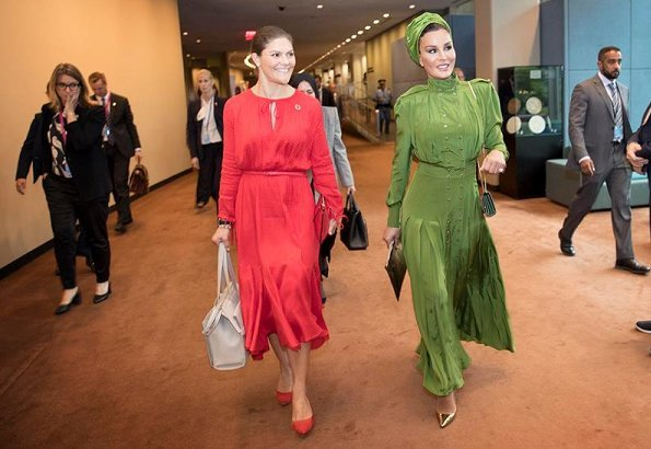 Crown Princess Victoria wore & Other Stories Midi Tie Neck Dress, Rizzo Stockholm Pumps and carried By Malene Birger tote bag
