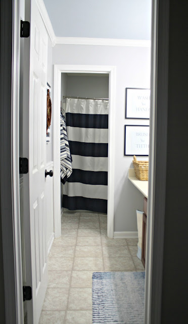 Wall separating rooms in bathroom