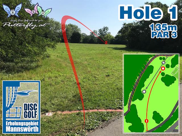 Hole 1 Disc Golf Parcours Erholungsgebiet Mannswörth - Schwechat