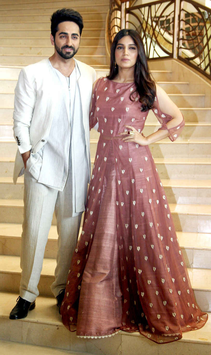 Ayushmann Khurrana and Bhumi Pednekar at Trailer Launch of 'Shubh Mangal Savdhan'