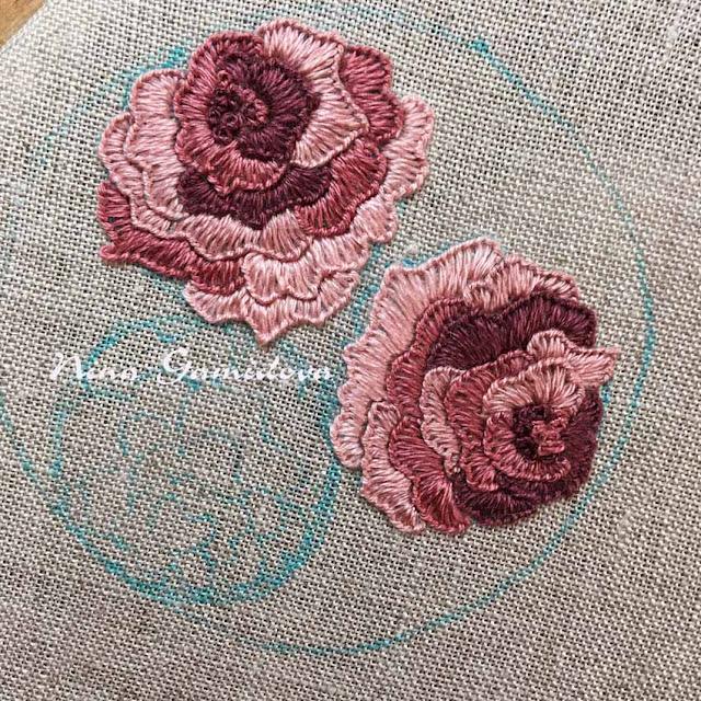 вышивка роз на льне
