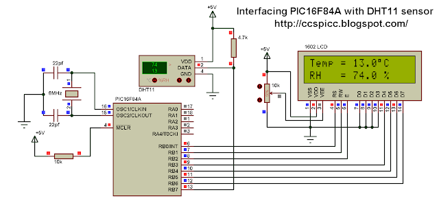 Interfacing PIC16F84A with DHT11 RHT01 sensor circuit Proteus simulation CCS PIC C