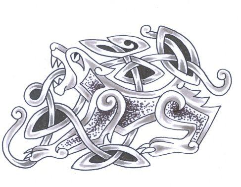 diseño de tatuaje celta de perro