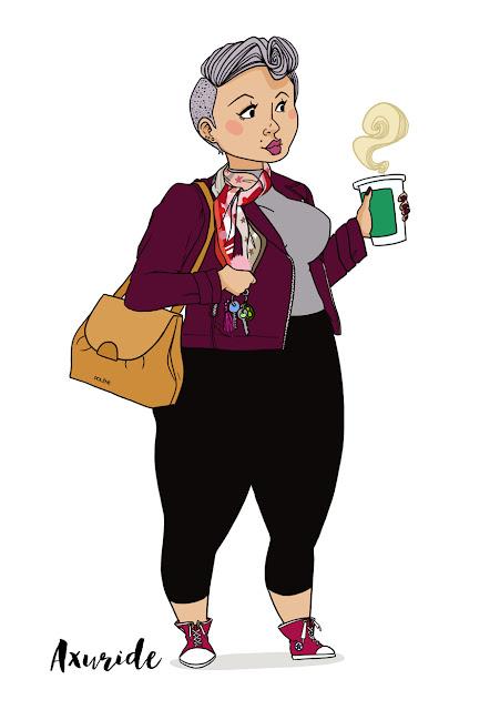 illustration d'une femme qui boit un café starbuck porte une foulard de sois et un sac Polène, femme rock et classe, une femme qui à un style bien à elle et qui l'assume.