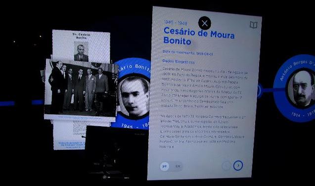 Painel interativo no Museu do FC Porto