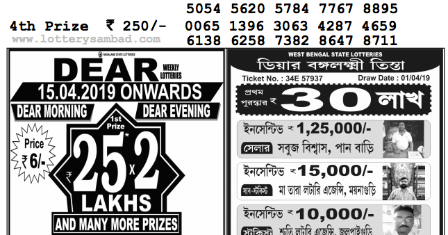 Nagaland Lottery Result : 01-04-2019: DEAR FLAMINGO EVENING