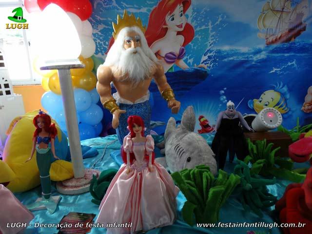 Mesa temática festa A Pequena Sereia - Decoração de aniversário infantil