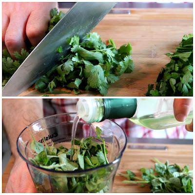 Chopping Fresh Parsley and Cilantro for Chimichurri Sauce