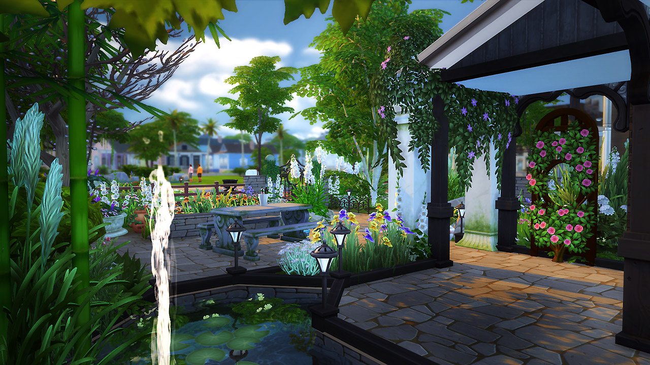 Cozy garden retreat sims 4 houses for Minimalist house the sims 4