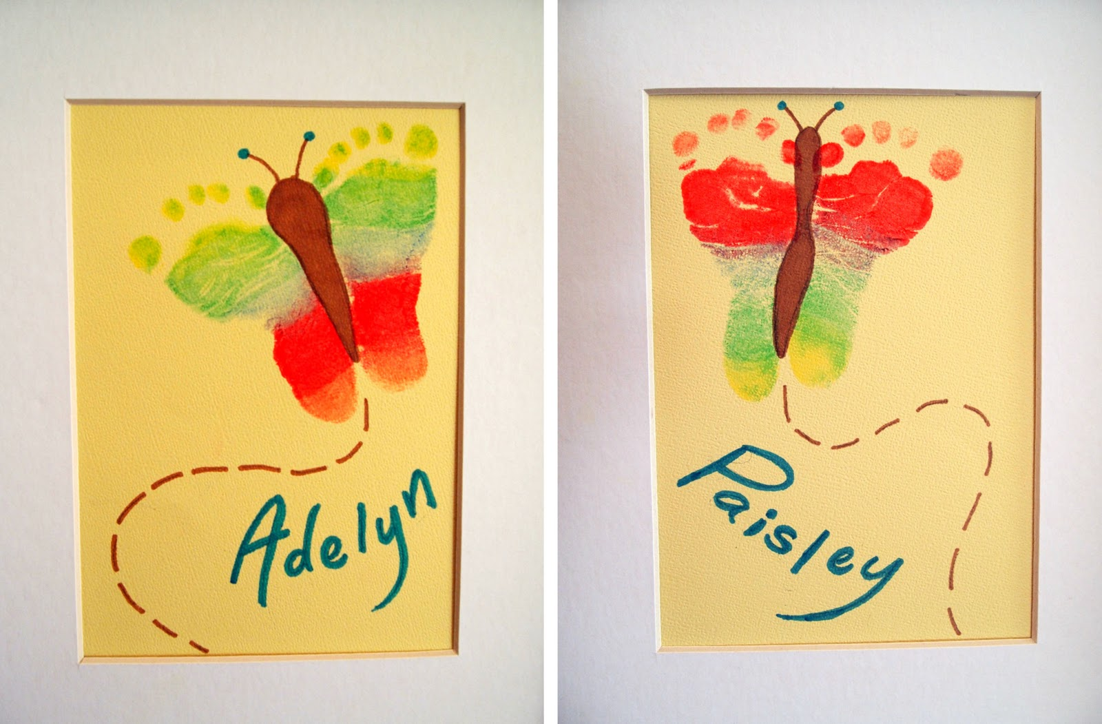 Rainbow Butterfly Footprint Artwork Crafting With
