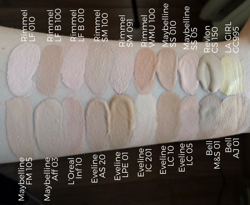 Rimmel Lasting Finish 010, Rimmel Lasting Finish Breathable 100, Rimmel Lasting Finish Breathable 010, Rimmel Stay Matte 100, Rimmel Stay Matte 091, Rimmel Wake Me Up 100, Maybelline SuperStay 10, Maybelline SuperStay 05, Revlon ColorStay 150, L.A. Girl HD Pro Conceal GC995 Light Yellow, Maybelline Fit Me 105, Maybelline Affinitone 03, L'Oreal Infallible Total Cover 10, Eveline Art. Scenic 20, Eveline Lumi Pro Expert 01, Eveline Ideal Cover 201, Eveline Liquid Control 10, Eveline Liquid Control 05, Bell Hypoallergenic Matt Soft 01, Bell Hypoallergenic Aqua Jelly 01, jasne podkłady drogeryjne, swatche jasnych podkładów, blog