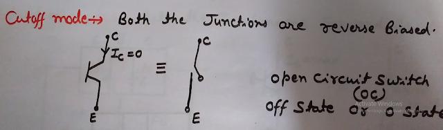 Cutoff Mode Operation of BJT (Bipolar Junction Transistor), Cutoff Mode Operation of BJT (Transistor working as Open Switch),  Cutoff Mode Operation of BJT