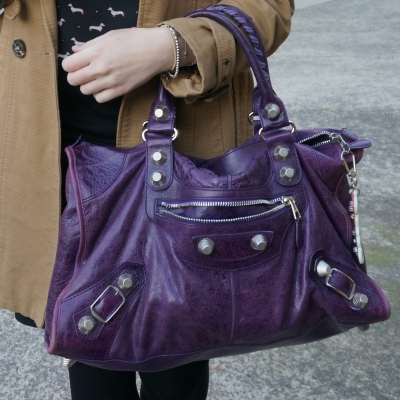 Trench coat, pencil skirt, Balenciaga raisin purple 2009 giant silver G21 hardware work bag | Away From The Blue
