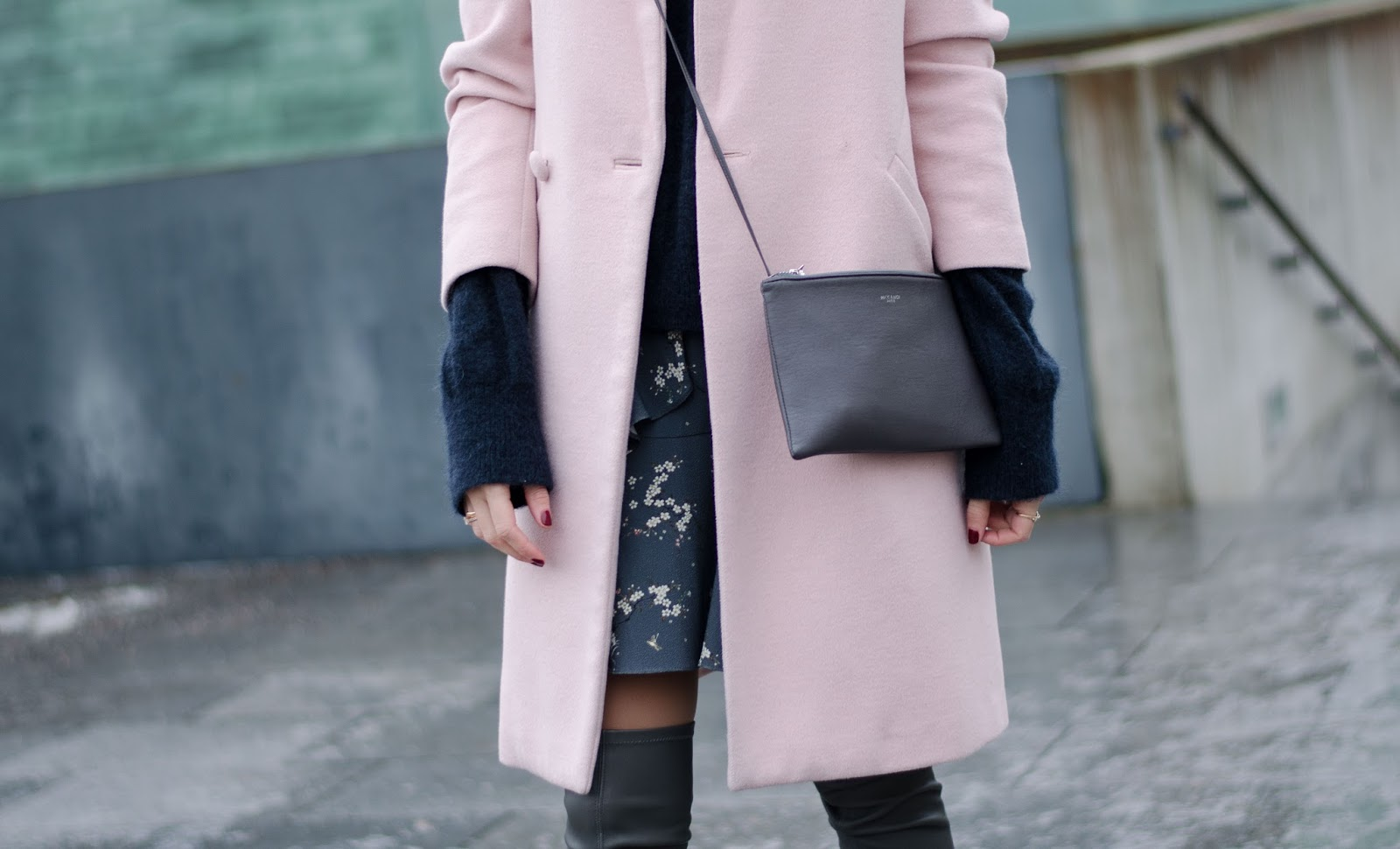 pink coat winter outfit