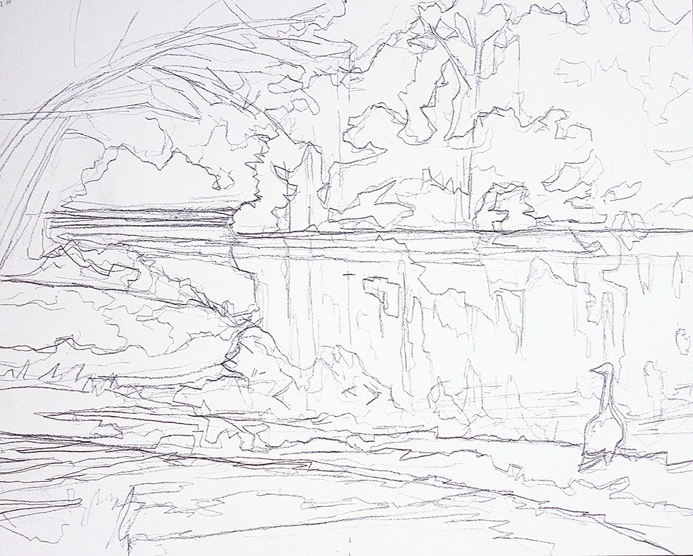 The preliminary drawing for the painting of a lake