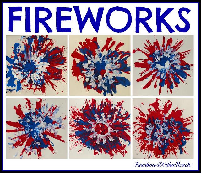 Painted Fireworks in Kindergarten