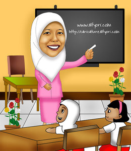 Gambar Kartun Ibu Guru Sedang Mengajar