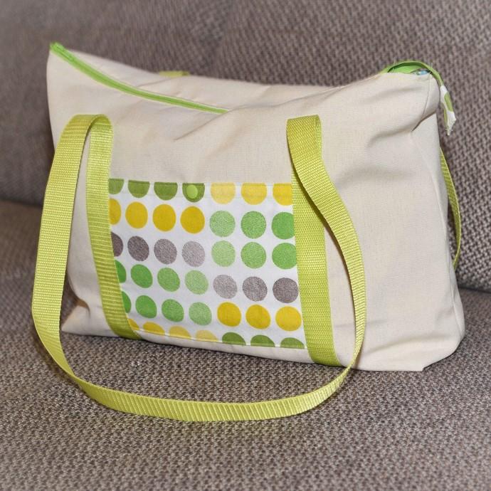 Ruckzucktasche nach Farbenmix mit Reißverschluss aus Outdorstoffen mit Aufsatztasche