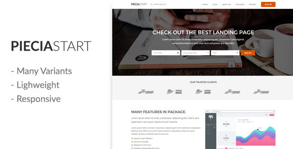 Download Piecia One Page Landing Page Responsive Template