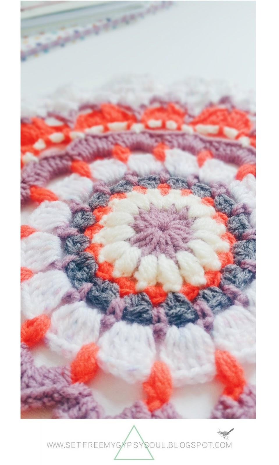 free mandala crochet pattern bohemian neon rug