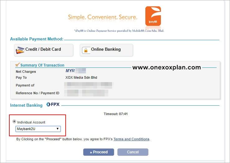 Kaedah bayaran ONEXOX Online Store
