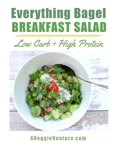 Everything Bagel Breakfast Salad, another easy healthy summer breakfast ♥ A Veggie Venture. High Protein. Low Carb. Easy Weekday Breakfast. Very Weight Watchers Friendly. Gluten Free.