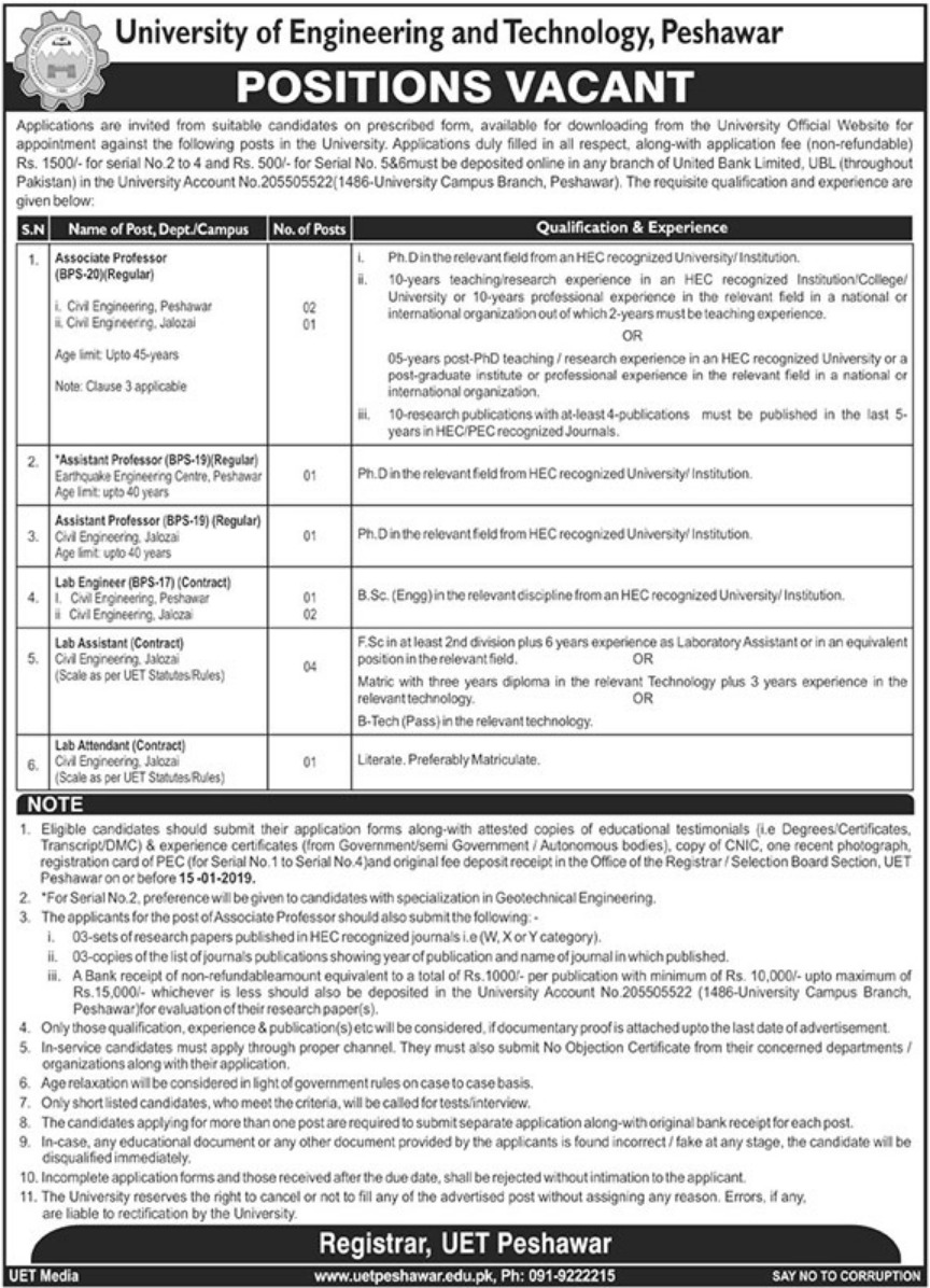 University of Engineering & Technology (UET) Peshawar Jobs 2019