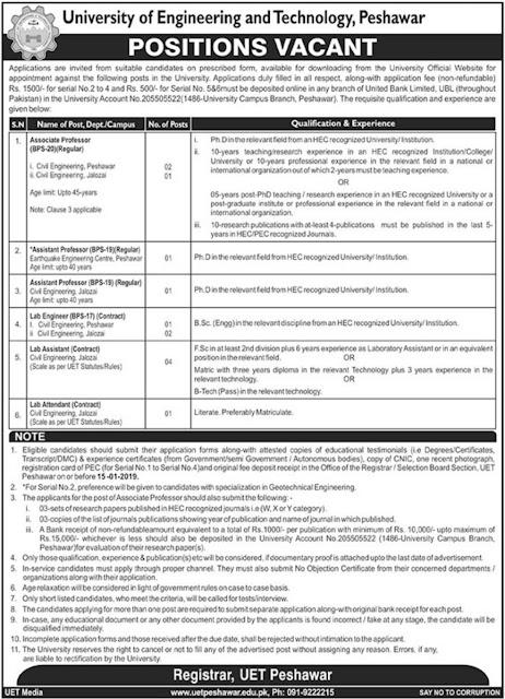 University of Engineering & Technology (UET) Peshawar Jobs 2019