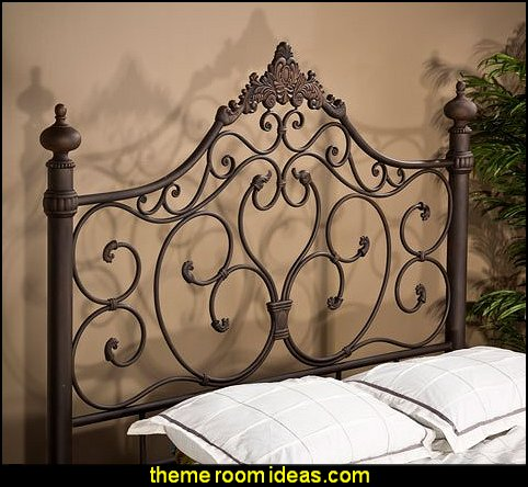 Hillsdale Furniture 1742HKR Baremore King Size Headboard with Rails Romantic Design and Tubular Steel Construction in Antique Brown
