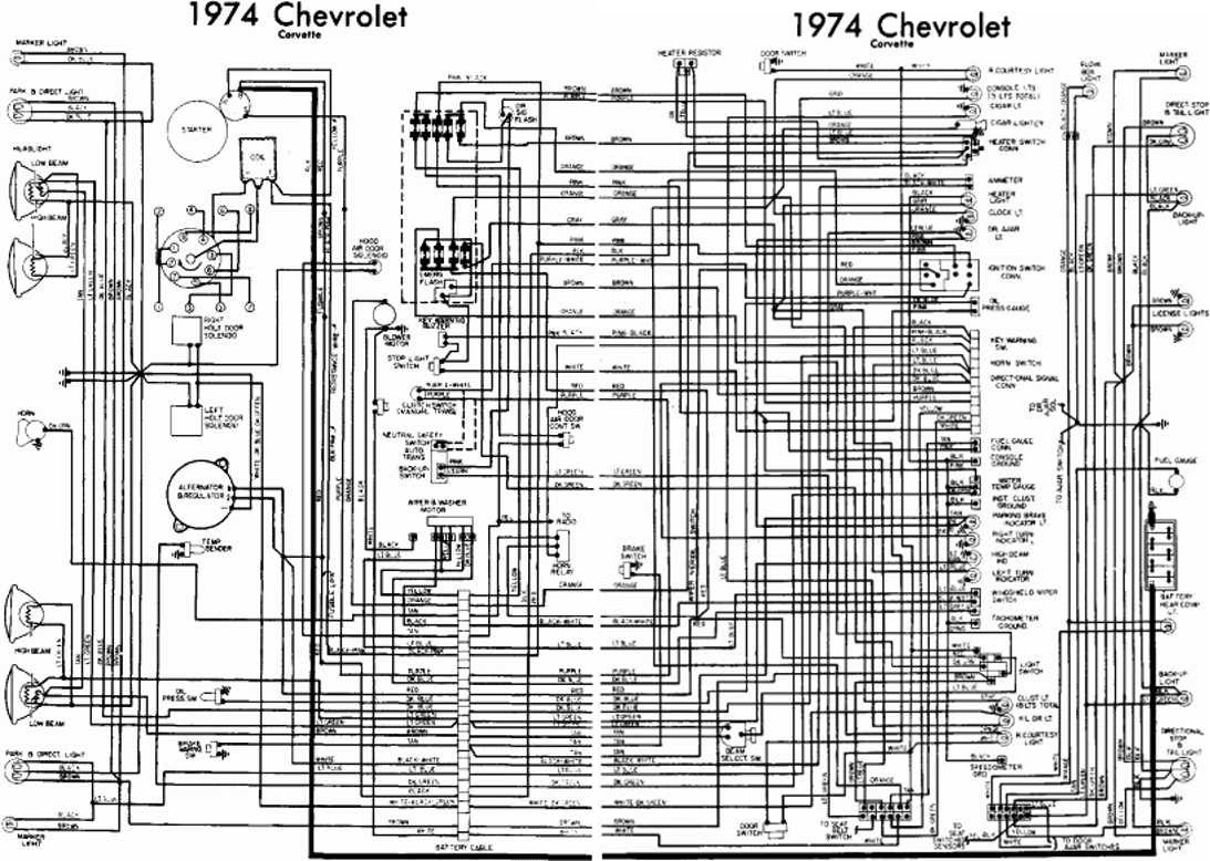 Chevrolet Corvette 1974 Complete Electrical Wiring Diagram
