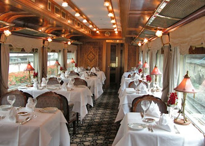 The dining car of a luxury train