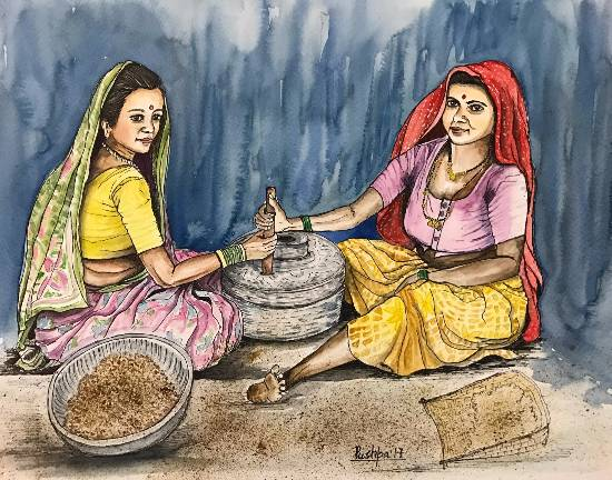 Indian village women grinding grain by Pushpa Sharma (www.indiaart.com)