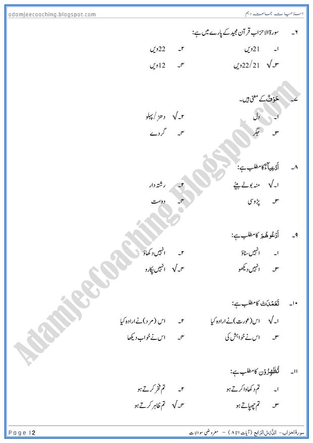 surah-al-ahzab-ayat-01-to-08-mcqs-islamiat-10th