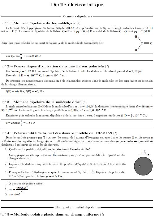 Exercices Corrigés Dipôle électrostatique s2