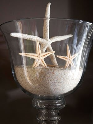 wine glasses with sand and starfish