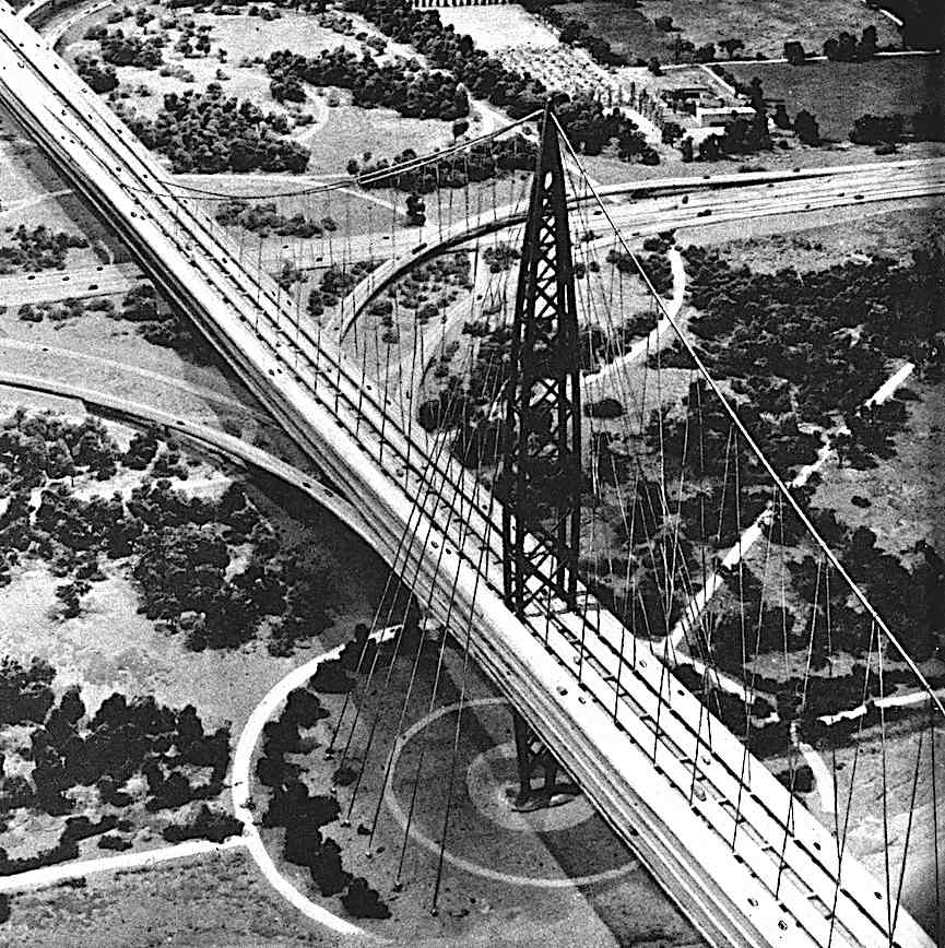 at the 1939 World's Fair, a part of Futurama designed by Norman Bel Geddes, a giant future bridge